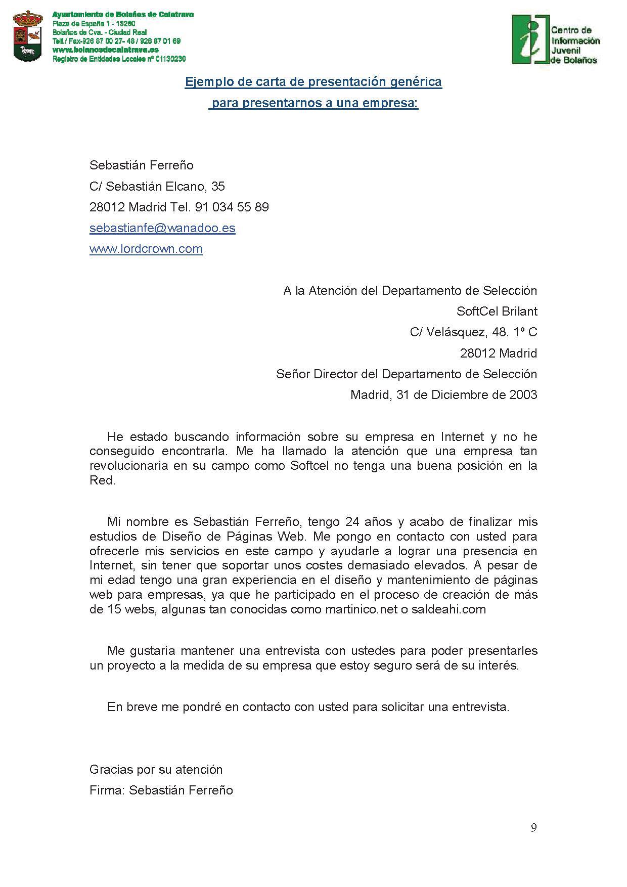 La carta de presentación | Área de Juventud. Ayuntamiento de Bolaños.