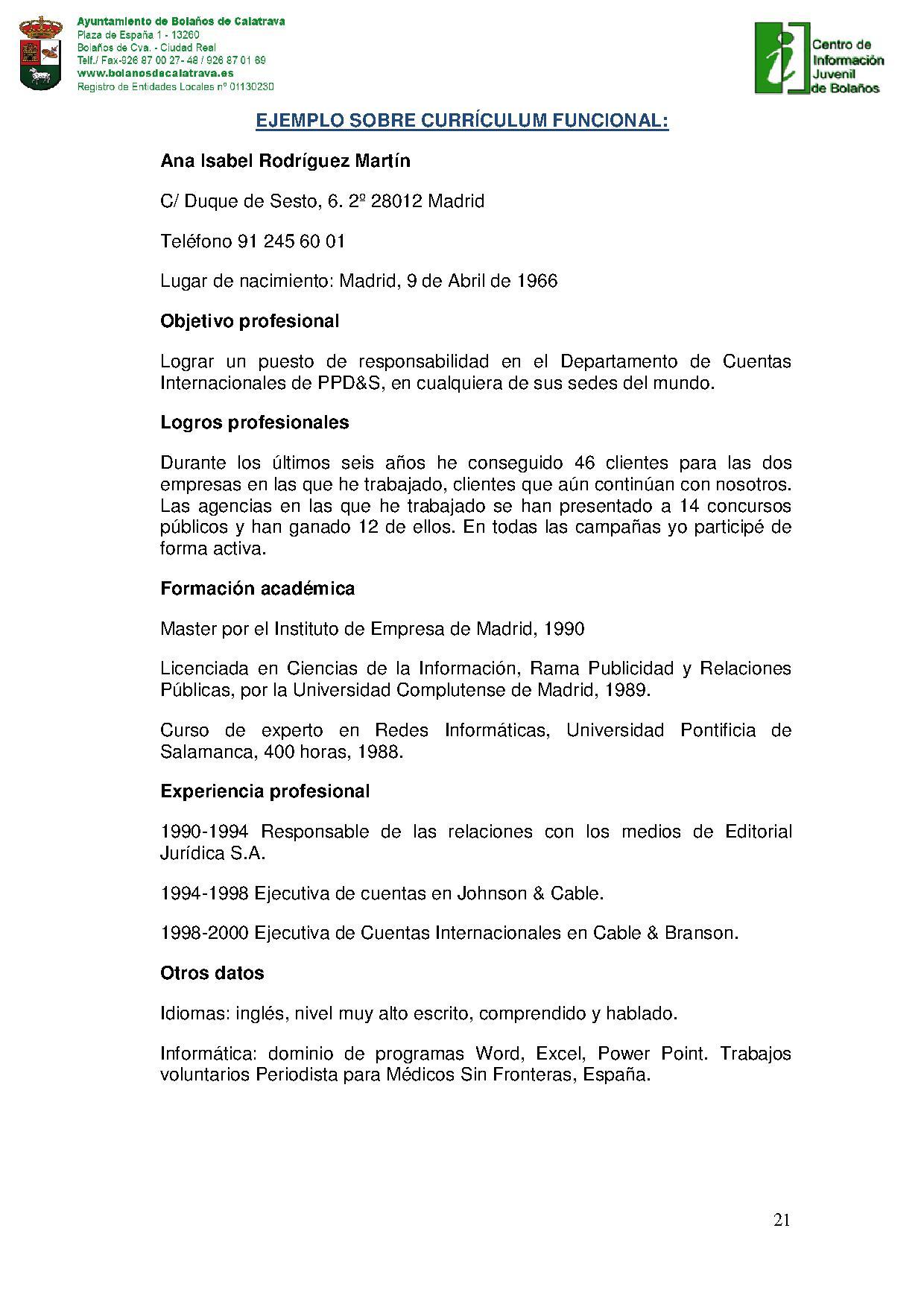Tipos de currículum | Área de Juventud. Ayuntamiento de Bolaños.