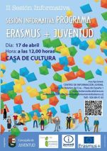 II Sesión Informativa del programa ERASMUS+ JUVENTUD. 17 de abril a las 12:00. Casa de cultura. Inscripciones: https://docs.google.com/…/1etsABizbsx6NRacXHwvH_EU…/viewform