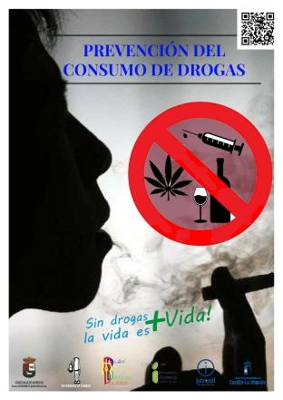 cartel prevención de drogas con QR