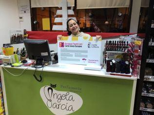 Perfumería Ángela. Adhesión de empresas al descuento a jóvenes con carné joven europeo. Diciembre de 2017.