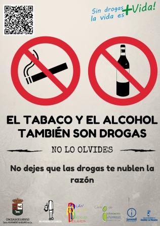 Cartel alcohol y tabaco también son drogas jpg